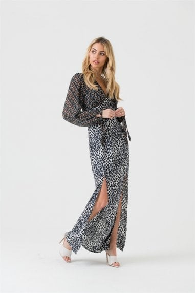 Mixed Print Maxi Dress With Split Detail