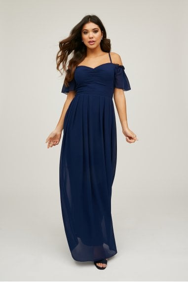 Vita Navy Cold-Shoulder Maxi Dress