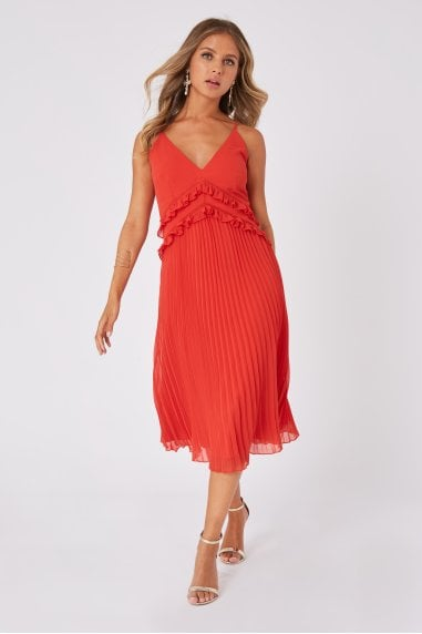 Mimi Salsa Pleated Midi Dress