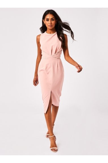 Sardo Blush Boucle-Trim Midi Pencil Dress