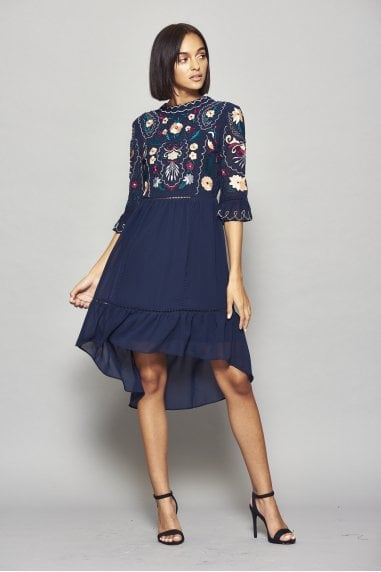 Imelia Embroidered Dipped Hem Dress