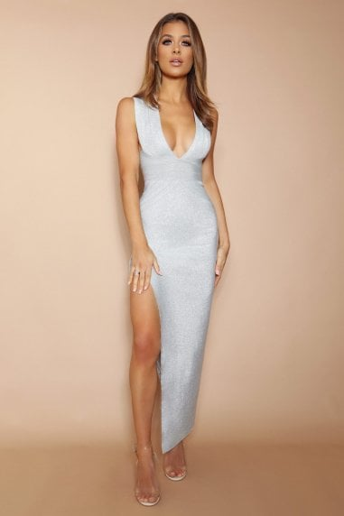 The Verona Silver Sparkle Bandage Maxi Dress