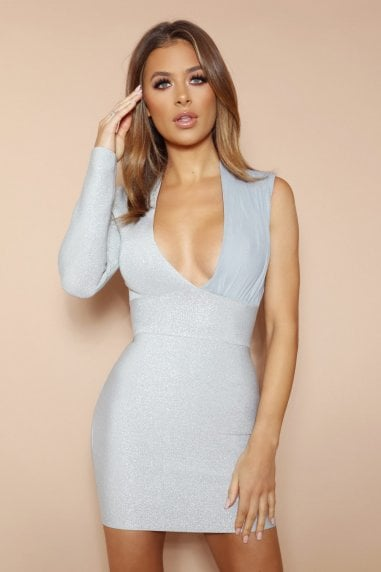 The Kartini Silver Sparkle Bandage Mini Dress