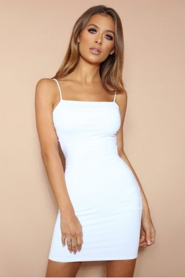 The Diamante Back Mini Dress White
