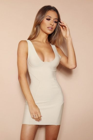 The Esme Beige Bandage Mini Dress
