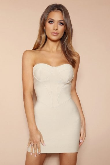 The Titania Beige Bandage Mini Dress