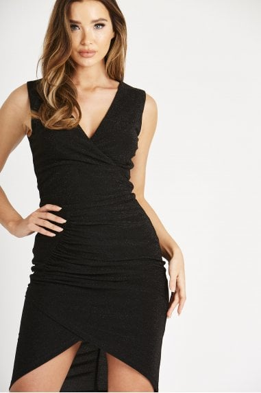 Black Metallic Sleeveless Ruched Dress