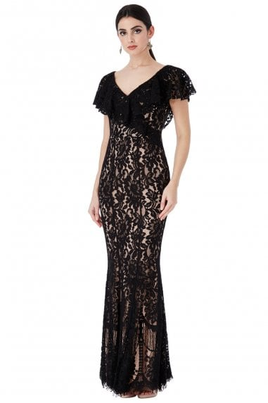 OUTLET Lace Maxi Dress with Frilled V Neckline - Black