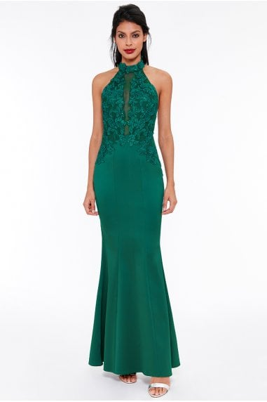 OUTLET Embroidered Halter Neck Maxi Dress - Emerald