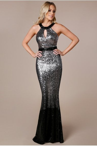 OUTLET Stephanie Pratt - Ombre Halter Neck Sequin Maxi Dress - Silver