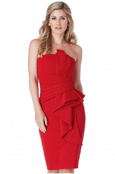 OUTLET Fan Pleated Boobtube Midi Dress - Red