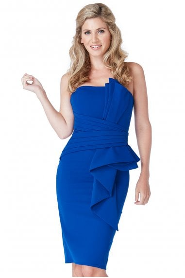OUTLET Fan Pleated Boobtube Midi Dress - ROYALBLUE