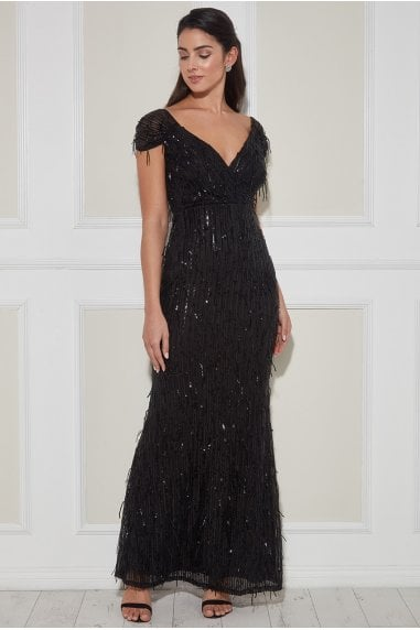 Goddiva Front Wrap Hanging Sequin Maxi Dress - Black