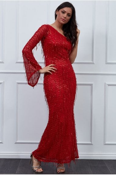 Goddiva One Shoulder Hanging Sequin Maxi Dress - Red