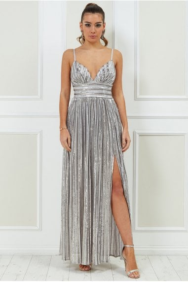 Goddiva Stripe Sequin Maxi Dress with Split - Silver