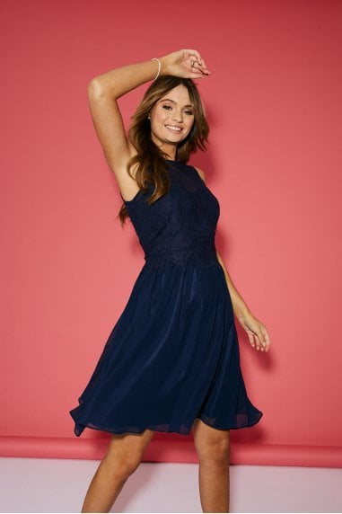 Bridesmaid Ella Navy Lace Overlay Prom Dress
