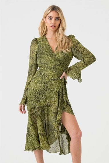 Green Snakeskin Midi Wrap Dress