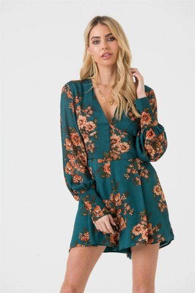 Green Orange Floral Button Front Playsuit
