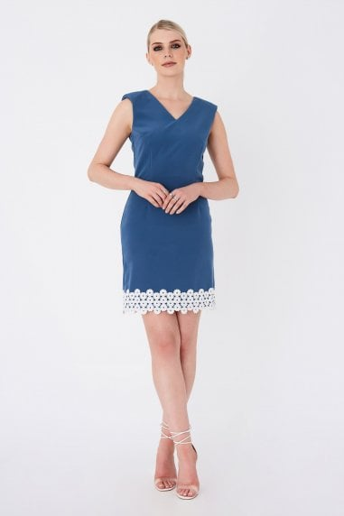 Vogel Prussian Blue Lace-Trim Mini Shift Dress