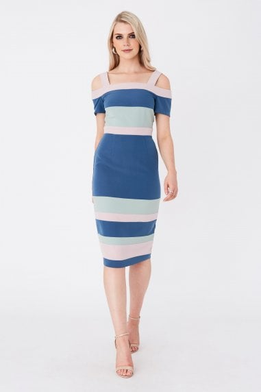 Rowe Colour Block Cold-Shoulder Midi Dress