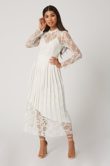 Reagan White Lace Midaxi Dress