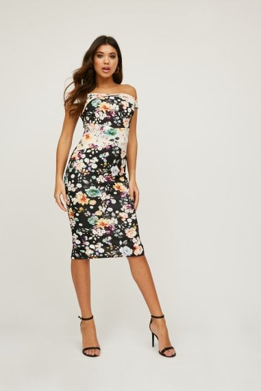Allure Mixed-Print Bardot Midi Dress