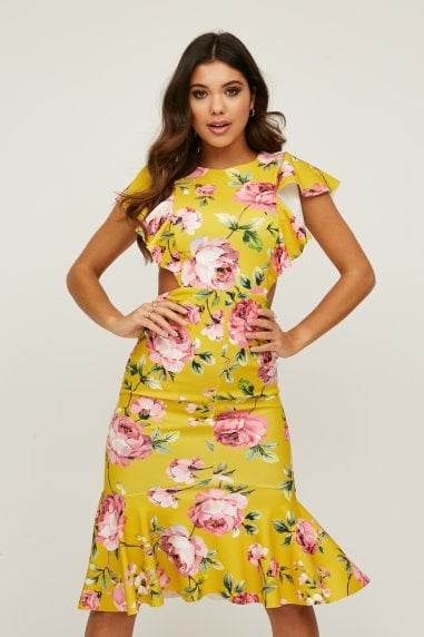 Willow Mustard Floral-Print Cut-Out Midi Dress