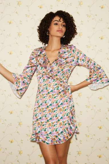Sublime Floral-Print Satin Frill Wrap Dress