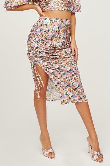 Sloane Floral-Print Satin Ruched Midi Skirt Co-ord