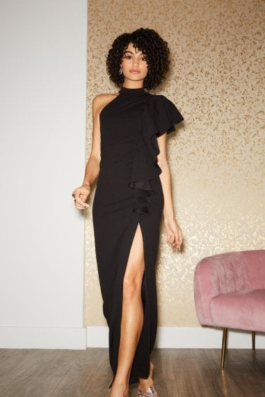 Nuevo Black Draped Frill Halterneck Maxi Dress