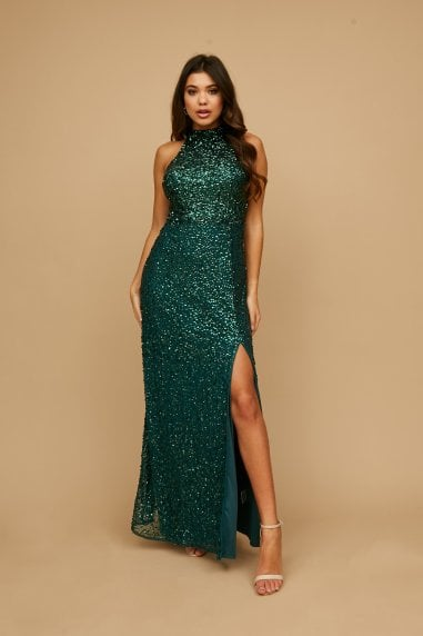 Nicky Teal Sequin Maxi Dress