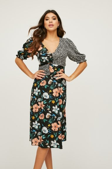 Motley Black Floral-Print Midi Tea Dress