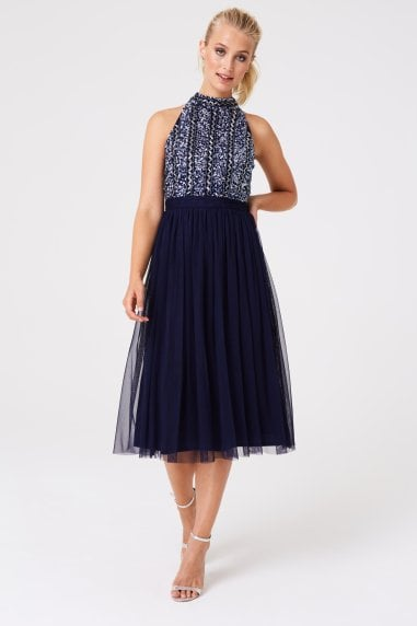 Bridesmaid Charli Navy Hand Embellished Midi Dress