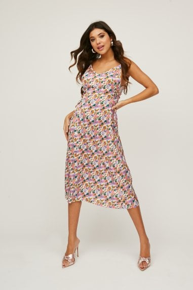 Huni Floral-Print Satin Lace-Up Midi Slip Dress