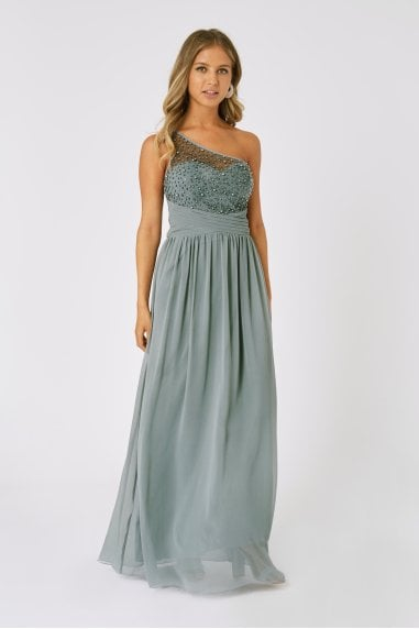 Bridesmaid Luanna Pistachio Embellished One-Shoulder Maxi Dress