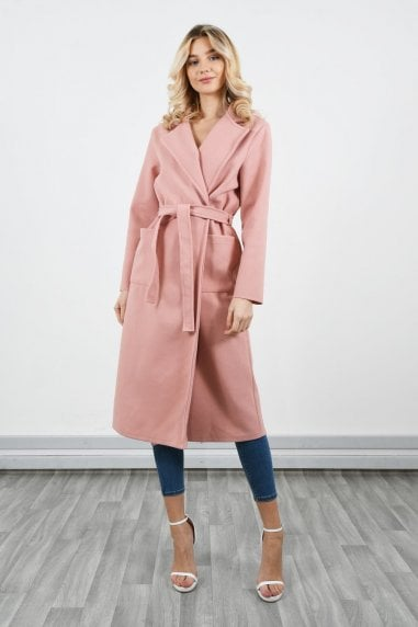 Long French coat with tie belt