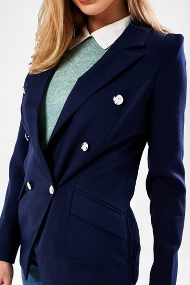 Tess Military Blazer in Navy