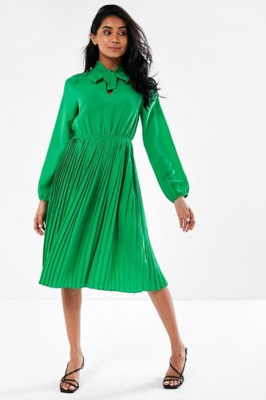 Beth Tie Neck Pleated Skirt Dress in Bright Green