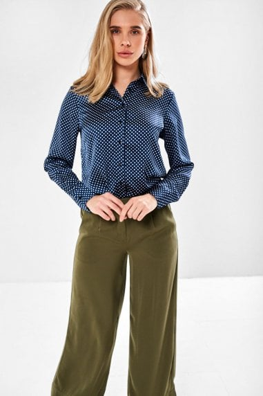 Fin Polka Dot Shirt in Navy