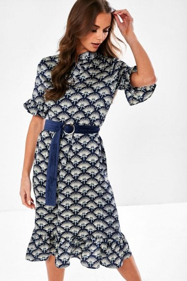 Emerson Printed Dress with Waist Belt in Navy