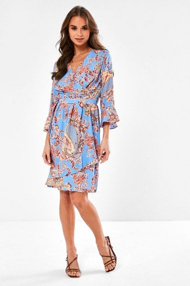 Maeve Paisley Print Ruffle Dress in Blue