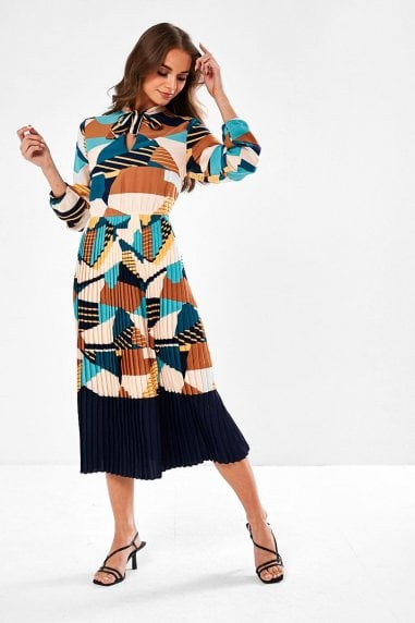 Amberley Pleated Skirt Midi Dress in Abstract
