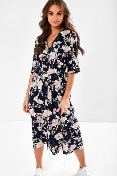 Amber Floral Dress with Pockets in Navy