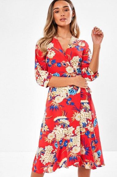 Greta Floral Print Kimono Midi Dress in Red