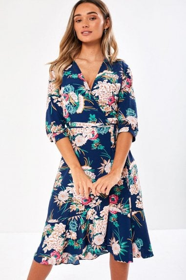 Greta Floral Print Kimono Midi Dress in Navy