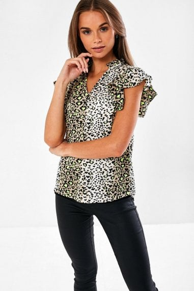 Faber Animal Print Top in Green