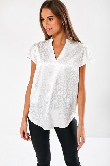 Ailsa Animal Print Blouse in White