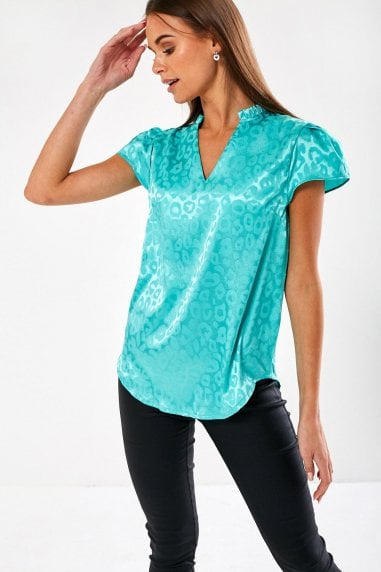 Ailsa Animal Print Blouse in Mint