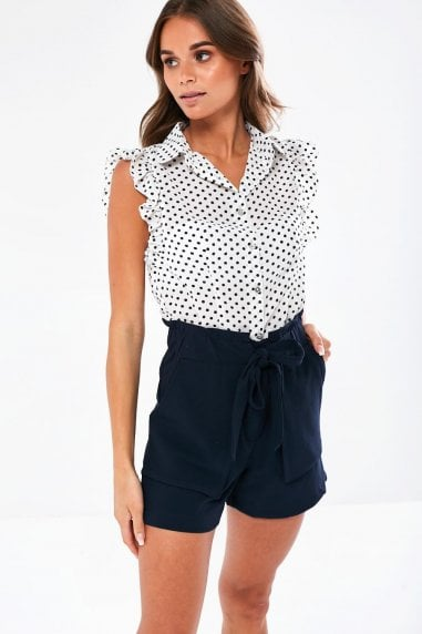 Jace Polka Dot Sleeveless Blouse in White