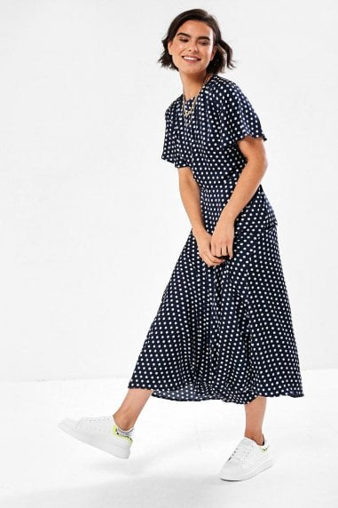 Sasha Polka Dot Dress in Navy